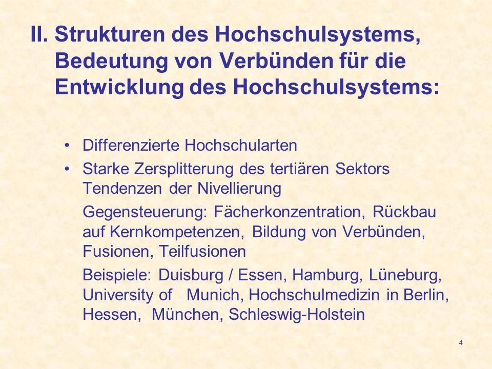 4 II. Strukturen des Hochschulsystems, Bedeutung von Verbünden für die Entwicklung des Hochschulsystems: Differenzierte Hochschularten Starke Zersplit