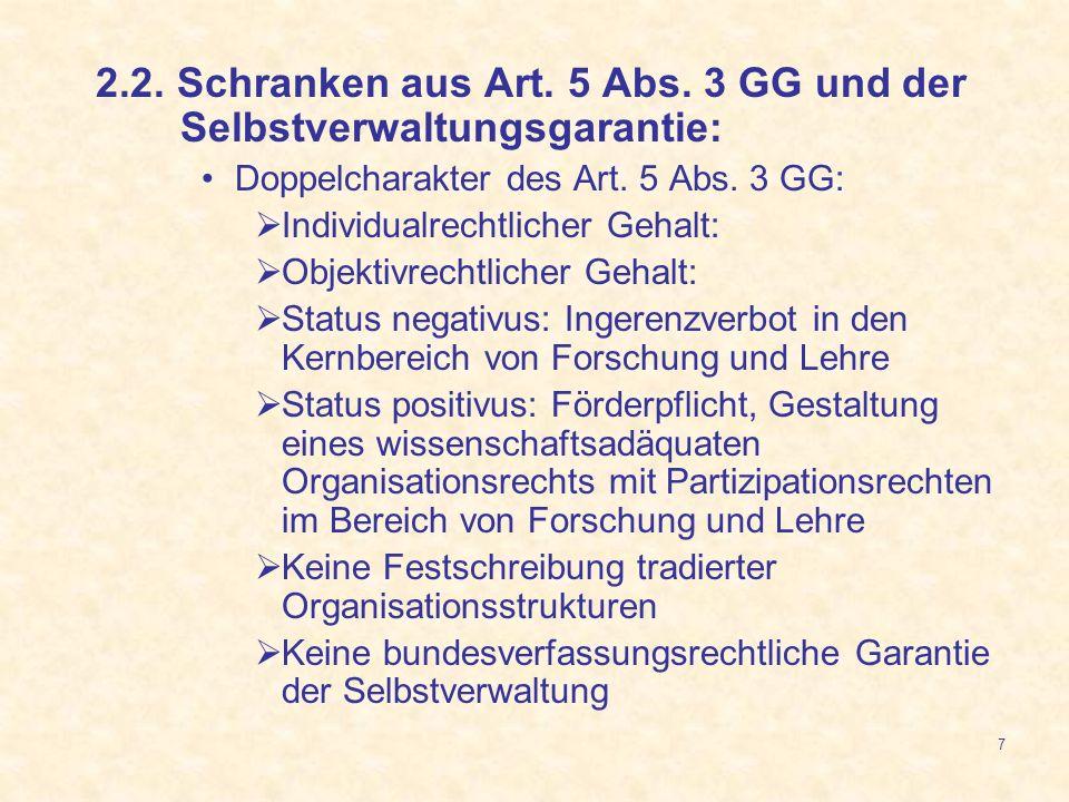 7 2.2. Schranken aus Art. 5 Abs. 3 GG und der Selbstverwaltungsgarantie: Doppelcharakter des Art. 5 Abs. 3 GG: Individualrechtlicher Gehalt: Objektivr
