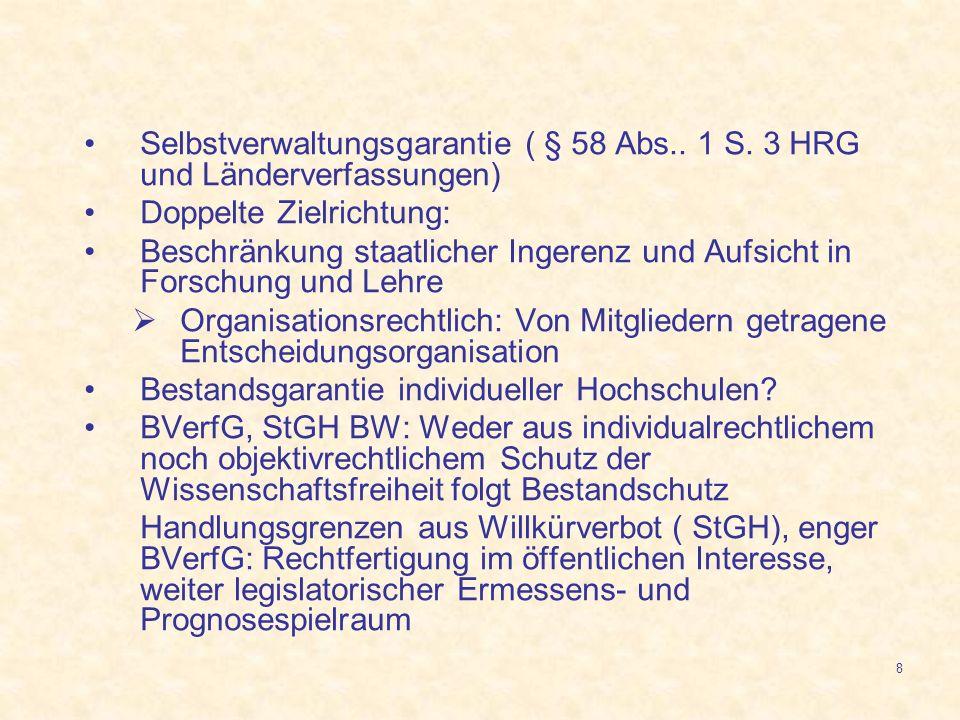 8 Selbstverwaltungsgarantie ( § 58 Abs.. 1 S. 3 HRG und Länderverfassungen) Doppelte Zielrichtung: Beschränkung staatlicher Ingerenz und Aufsicht in F