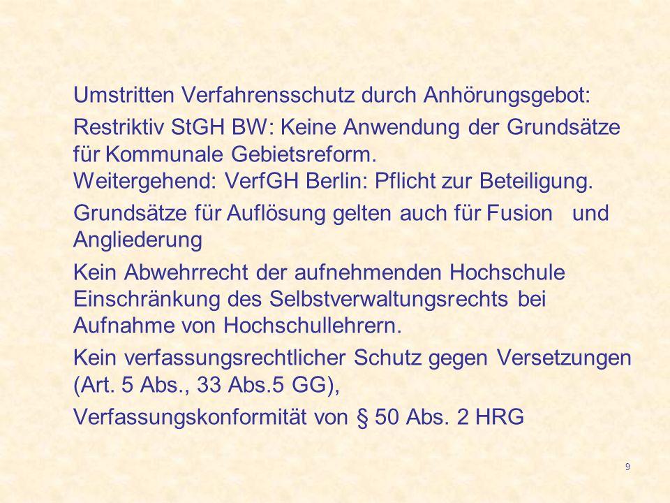 9 Umstritten Verfahrensschutz durch Anhörungsgebot: Restriktiv StGH BW: Keine Anwendung der Grundsätze für Kommunale Gebietsreform. Weitergehend: Verf