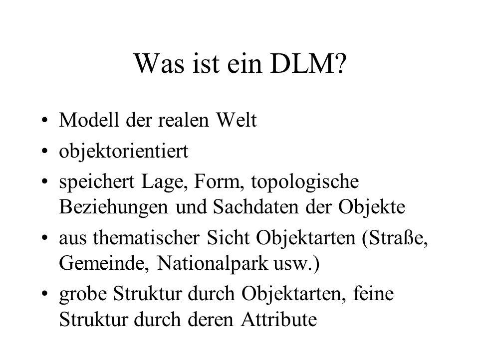 Was ist ein DLM? Modell der realen Welt objektorientiert speichert Lage, Form, topologische Beziehungen und Sachdaten der Objekte aus thematischer Sic