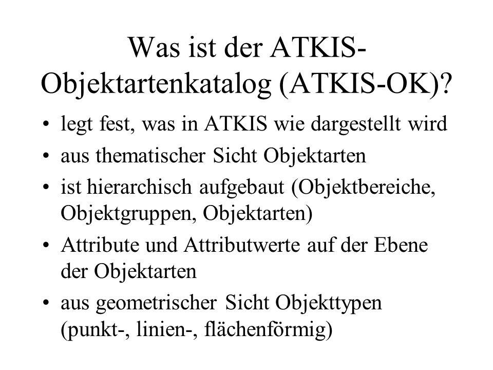 Was ist der ATKIS- Objektartenkatalog (ATKIS-OK)? legt fest, was in ATKIS wie dargestellt wird aus thematischer Sicht Objektarten ist hierarchisch auf
