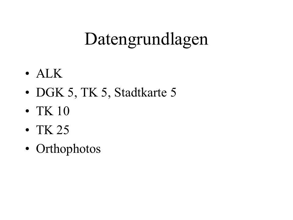 Datengrundlagen ALK DGK 5, TK 5, Stadtkarte 5 TK 10 TK 25 Orthophotos