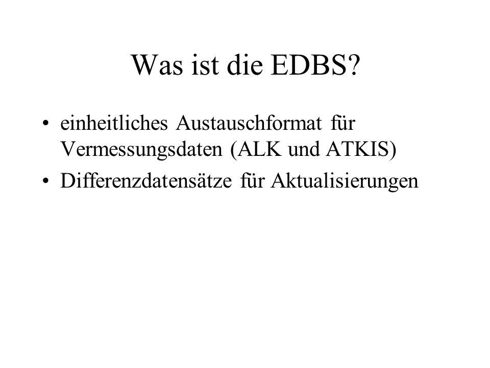 Was ist die EDBS? einheitliches Austauschformat für Vermessungsdaten (ALK und ATKIS) Differenzdatensätze für Aktualisierungen