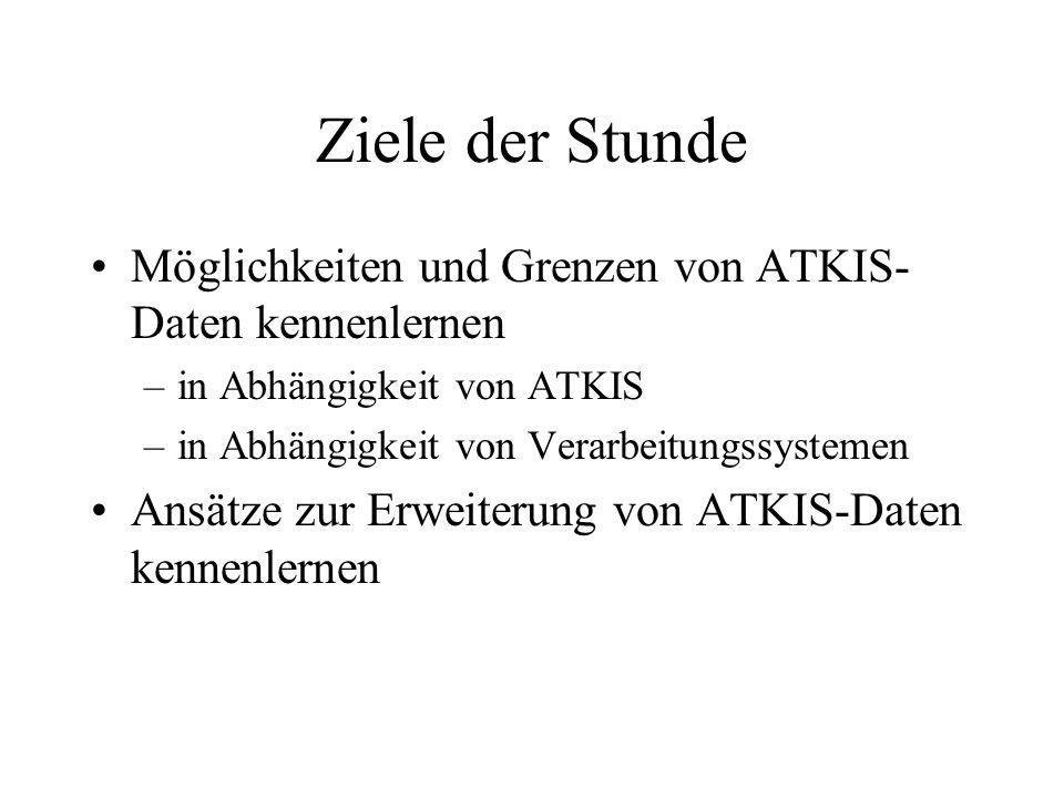 Ziele der Stunde Möglichkeiten und Grenzen von ATKIS- Daten kennenlernen –in Abhängigkeit von ATKIS –in Abhängigkeit von Verarbeitungssystemen Ansätze