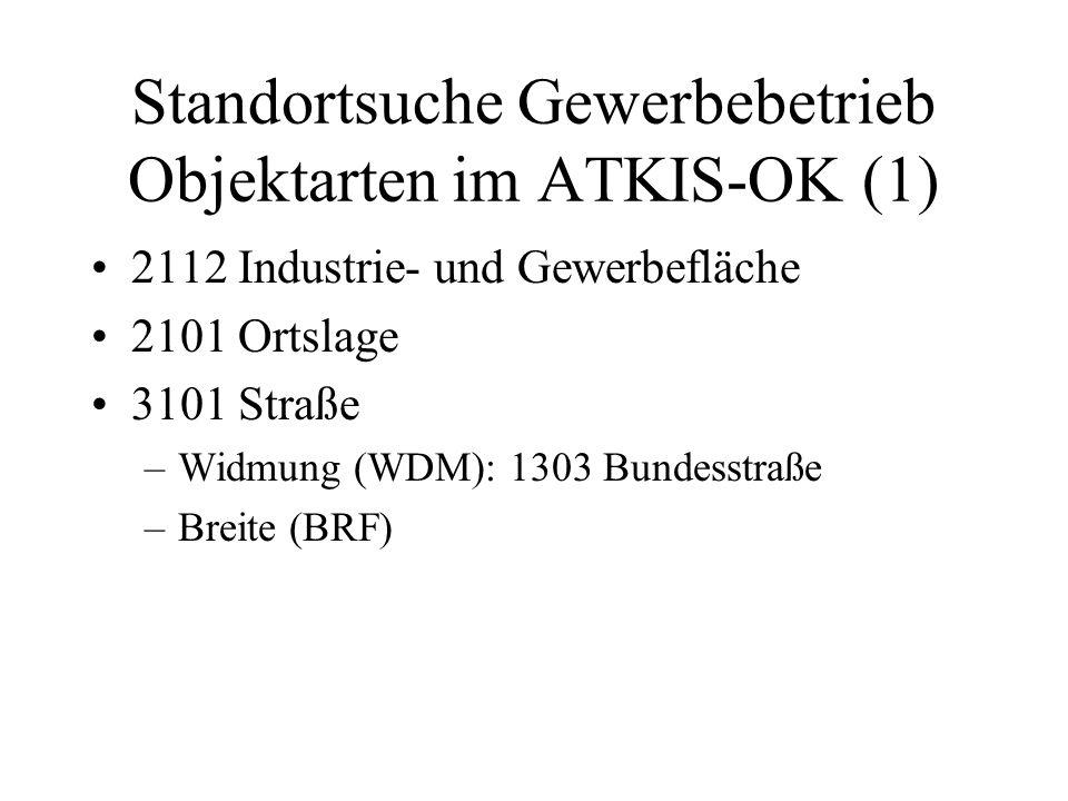Standortsuche Gewerbebetrieb Objektarten im ATKIS-OK (1) 2112 Industrie- und Gewerbefläche 2101 Ortslage 3101 Straße –Widmung (WDM): 1303 Bundesstraße
