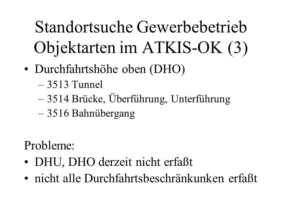 Standortsuche Gewerbebetrieb Objektarten im ATKIS-OK (3) Durchfahrtshöhe oben (DHO) –3513 Tunnel –3514 Brücke, Überführung, Unterführung –3516 Bahnübe