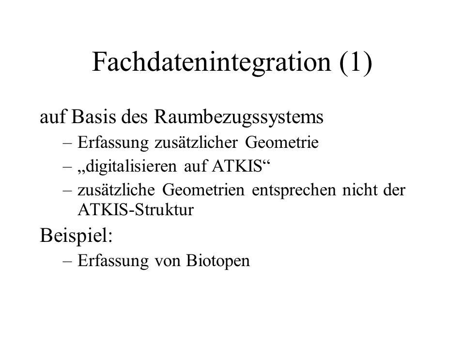 Fachdatenintegration (1) auf Basis des Raumbezugssystems –Erfassung zusätzlicher Geometrie –digitalisieren auf ATKIS –zusätzliche Geometrien entsprech
