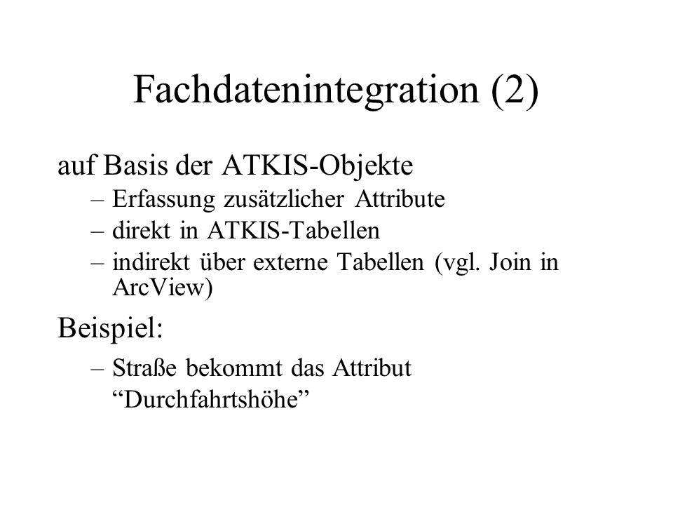 Fachdatenintegration (2) auf Basis der ATKIS-Objekte –Erfassung zusätzlicher Attribute –direkt in ATKIS-Tabellen –indirekt über externe Tabellen (vgl.