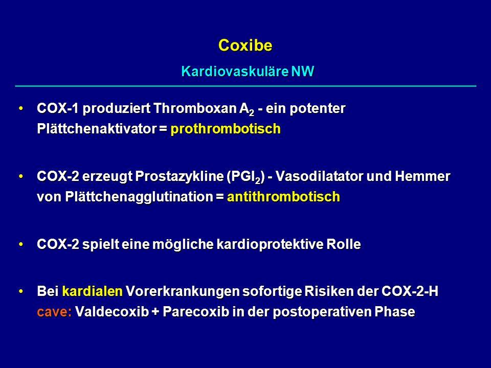 COX-1 produziert Thromboxan A 2 - ein potenter Plättchenaktivator = prothrombotischCOX-1 produziert Thromboxan A 2 - ein potenter Plättchenaktivator =