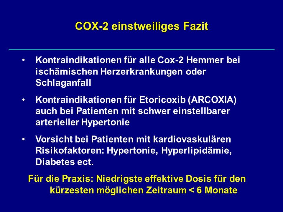 COX-2 einstweiliges Fazit Kontraindikationen für alle Cox-2 Hemmer bei ischämischen Herzerkrankungen oder Schlaganfall Kontraindikationen für Etoricox