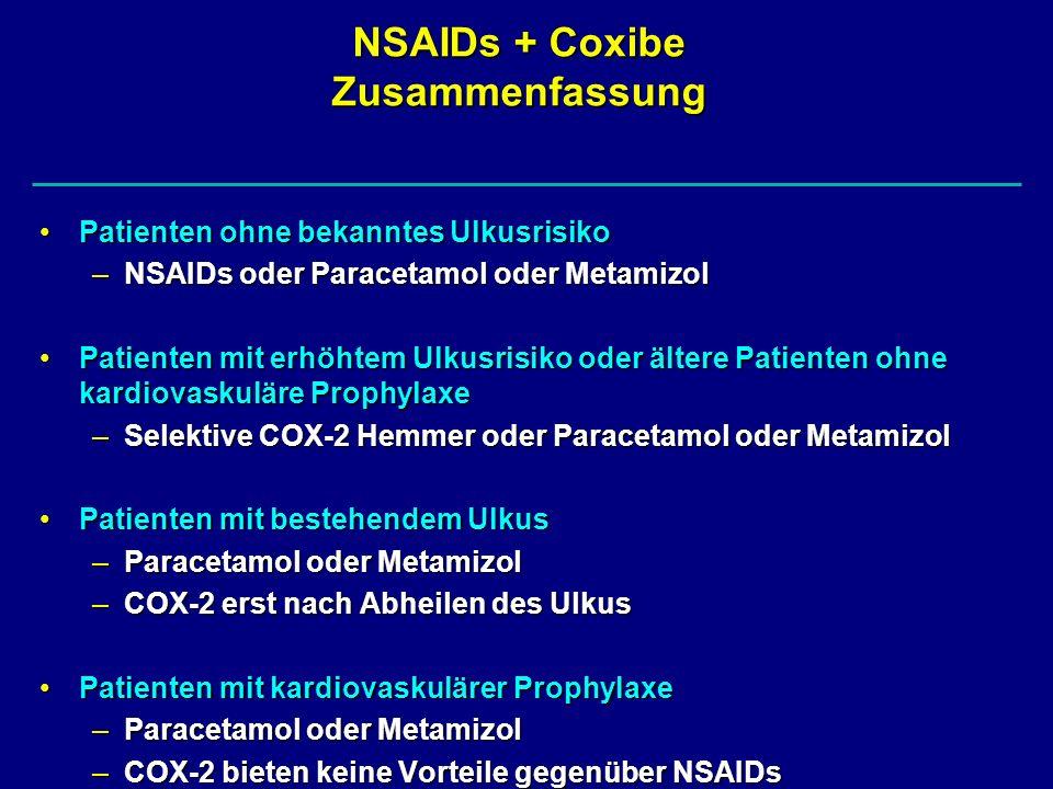 NSAIDs + Coxibe Zusammenfassung Patienten ohne bekanntes UlkusrisikoPatienten ohne bekanntes Ulkusrisiko –NSAIDs oder Paracetamol oder Metamizol Patie