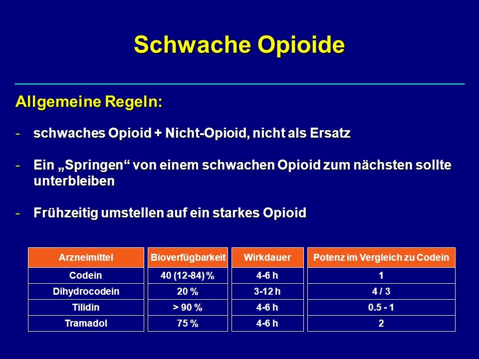 Schwache Opioide Allgemeine Regeln: -schwaches Opioid + Nicht-Opioid, nicht als Ersatz -Ein Springen von einem schwachen Opioid zum nächsten sollte un