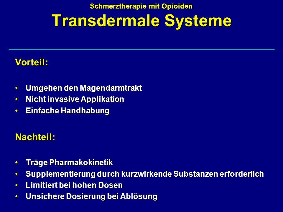 Schmerztherapie mit Opioiden Transdermale Systeme Vorteil: Umgehen den MagendarmtraktUmgehen den Magendarmtrakt Nicht invasive ApplikationNicht invasi