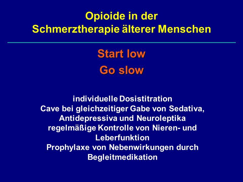 Opioide in der Schmerztherapie älterer Menschen Start low Go slow individuelle Dosistitration Cave bei gleichzeitiger Gabe von Sedativa, Antidepressiv
