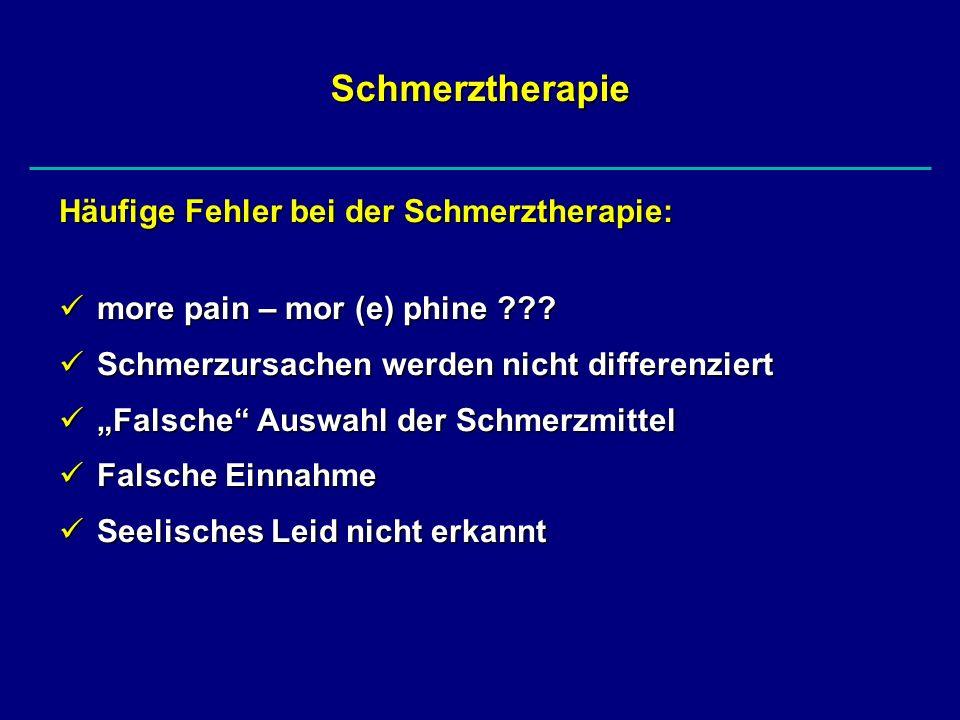 Schmerztherapie Häufige Fehler bei der Schmerztherapie: more pain – mor (e) phine ??? more pain – mor (e) phine ??? Schmerzursachen werden nicht diffe