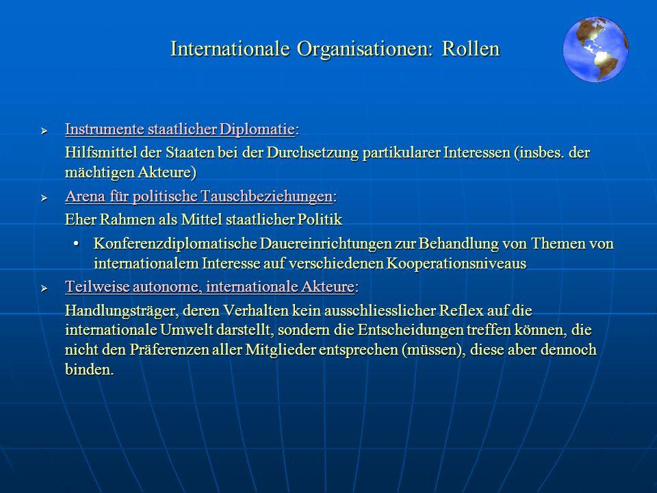 Internationale Organisationen: Rollen Instrumente staatlicher Diplomatie: Hilfsmittel der Staaten bei der Durchsetzung partikularer Interessen (insbes
