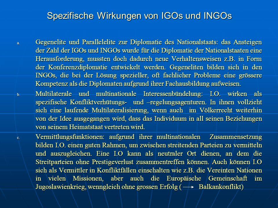 Spezifische Wirkungen von IGOs und INGOs a. G egenelite und Parallelelite zur Diplomatie des Nationalstaats: das Ansteigen der Zahl der IGOs und INGOs