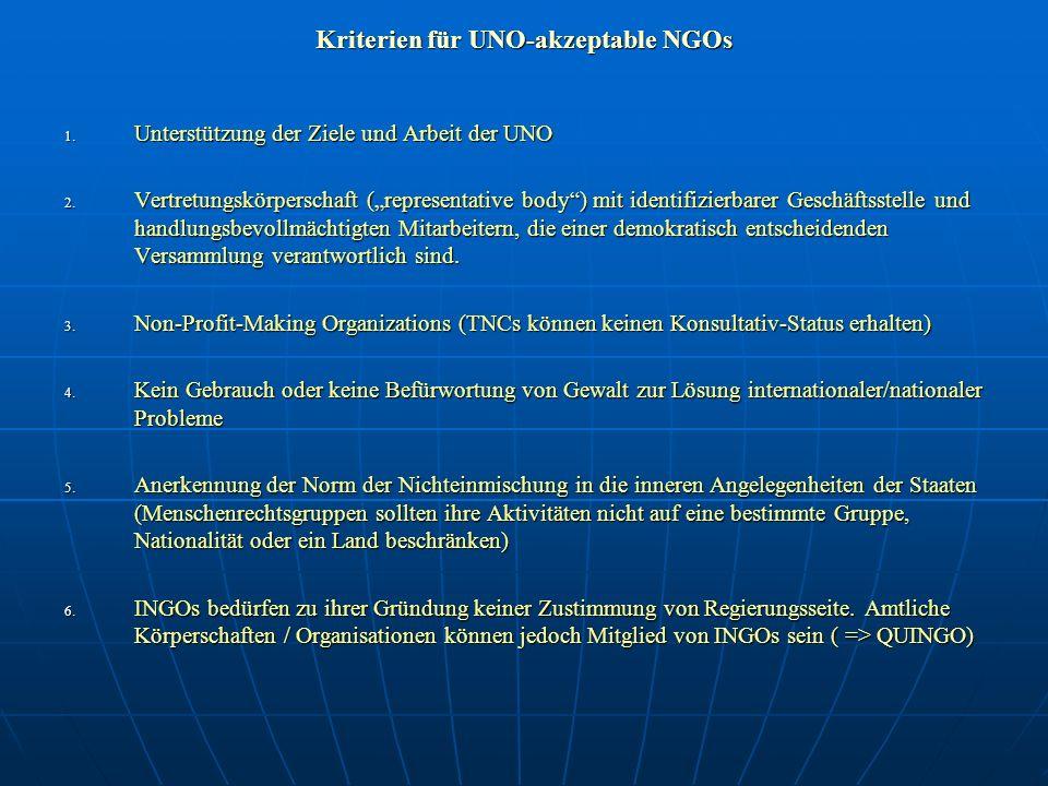 Kriterien für UNO-akzeptable NGOs 1. Unterstützung der Ziele und Arbeit der UNO 2. Vertretungskörperschaft (representative body) mit identifizierbarer