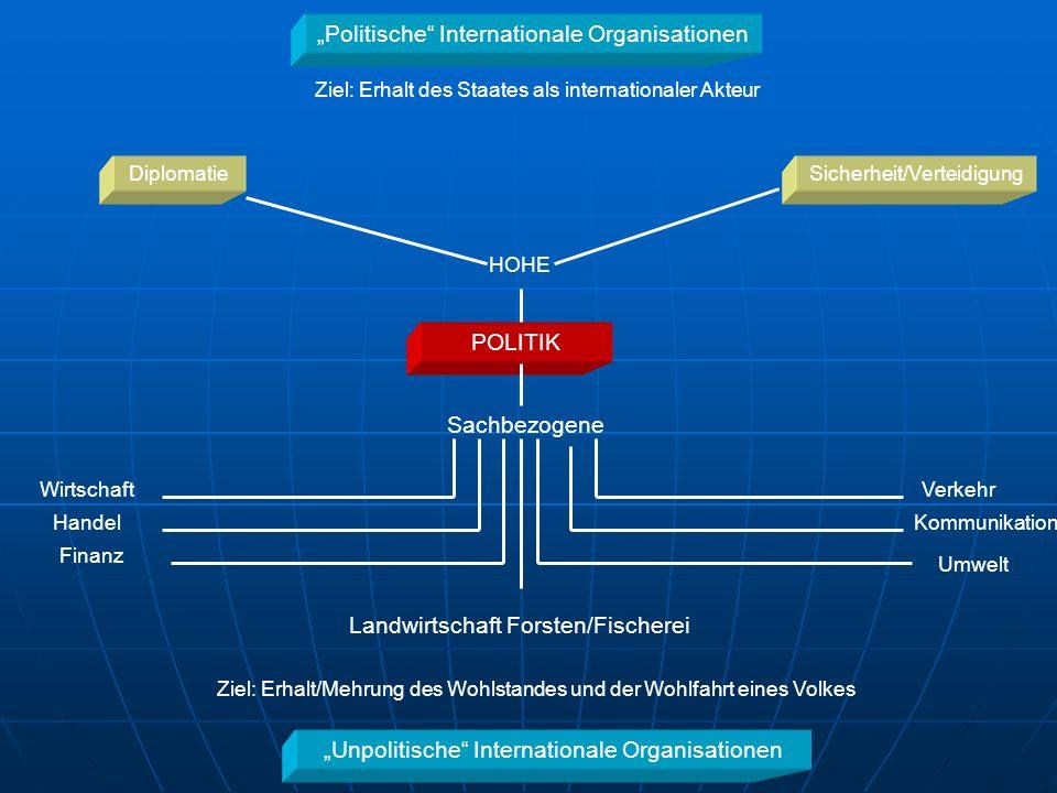 Politische Internationale Organisationen Unpolitische Internationale Organisationen Ziel: Erhalt des Staates als internationaler Akteur Ziel: Erhalt/M