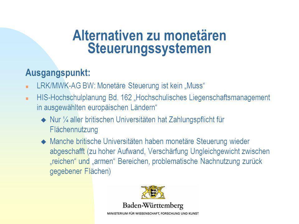 Alternativen zu monetären Steuerungssystemen Ausgangspunkt: n LRK/MWK-AG BW: Monetäre Steuerung ist kein Muss n HIS-Hochschulplanung Bd. 162 Hochschul