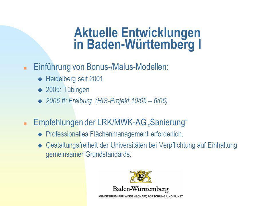 Aktuelle Entwicklungen in Baden-Württemberg I n Einführung von Bonus-/Malus-Modellen: u Heidelberg seit 2001 u 2005: Tübingen u 2006 ff: Freiburg (HIS