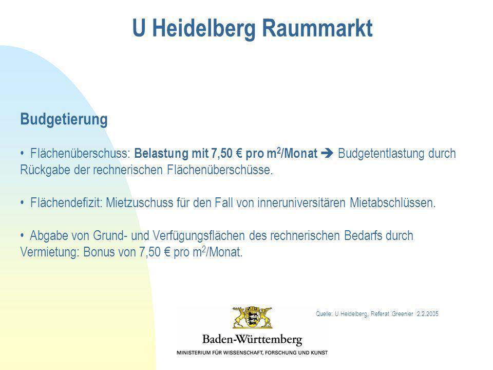 Budgetierung Flächenüberschuss: Belastung mit 7,50 pro m 2 /Monat Budgetentlastung durch Rückgabe der rechnerischen Flächenüberschüsse. Flächendefizit