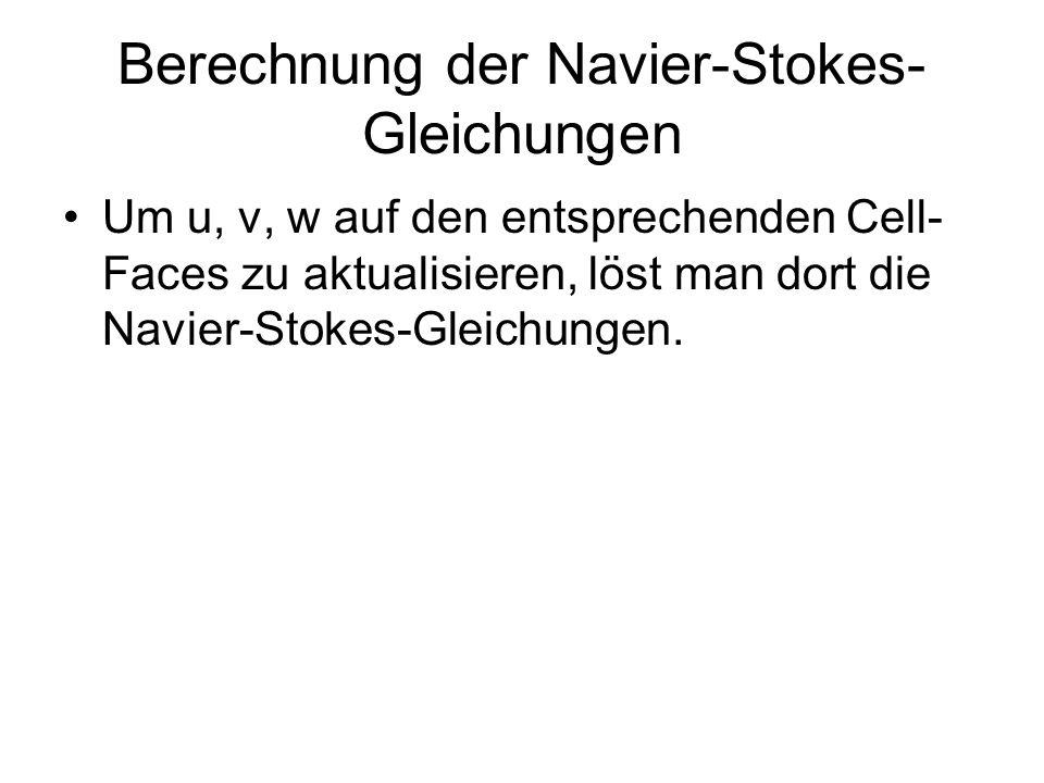 Berechnung der Navier-Stokes- Gleichungen Um u, v, w auf den entsprechenden Cell- Faces zu aktualisieren, löst man dort die Navier-Stokes-Gleichungen.