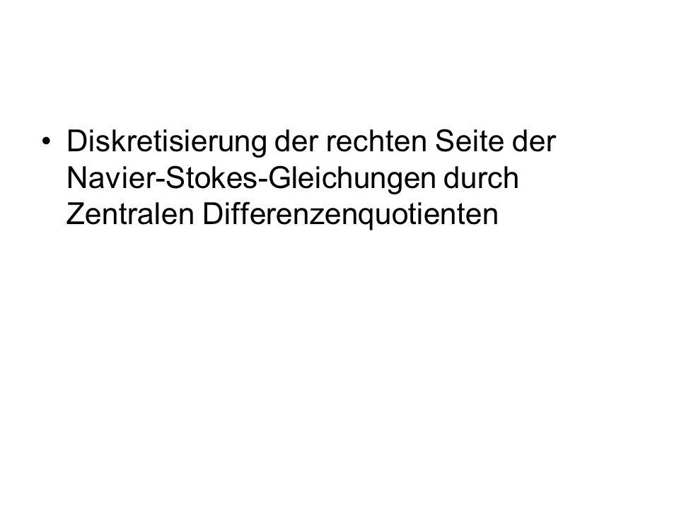Diskretisierung der rechten Seite der Navier-Stokes-Gleichungen durch Zentralen Differenzenquotienten