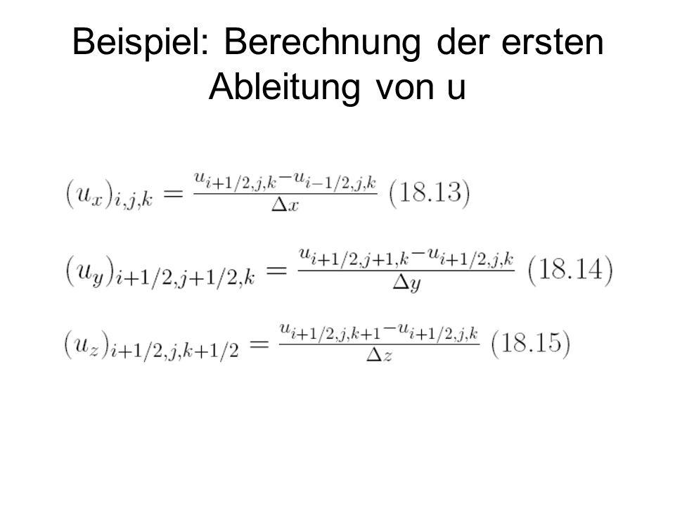 Beispiel: Berechnung der ersten Ableitung von u