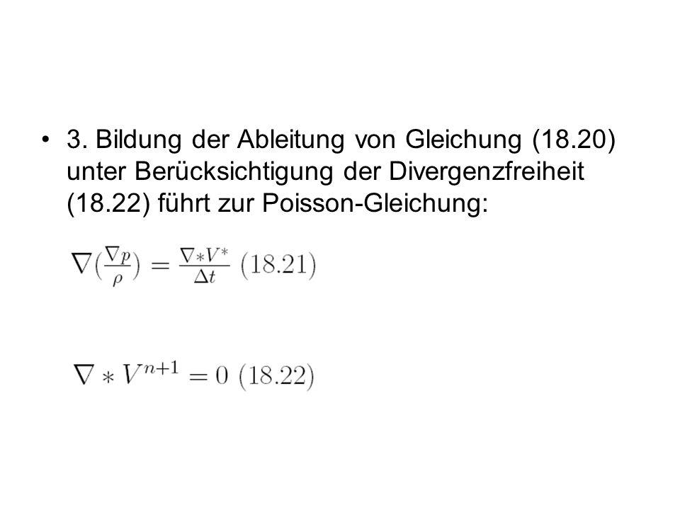 3. Bildung der Ableitung von Gleichung (18.20) unter Berücksichtigung der Divergenzfreiheit (18.22) führt zur Poisson-Gleichung:
