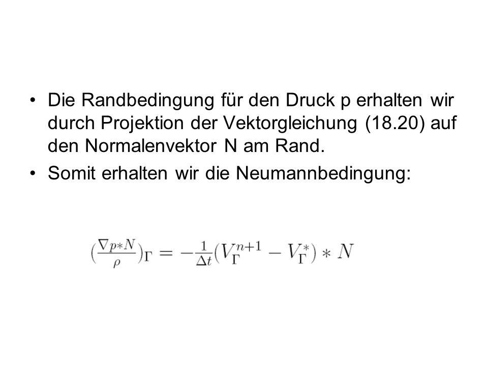 Die Randbedingung für den Druck p erhalten wir durch Projektion der Vektorgleichung (18.20) auf den Normalenvektor N am Rand. Somit erhalten wir die N
