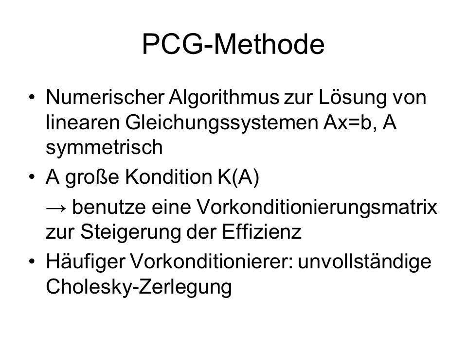 PCG-Methode Numerischer Algorithmus zur Lösung von linearen Gleichungssystemen Ax=b, A symmetrisch A große Kondition K(A) benutze eine Vorkonditionier