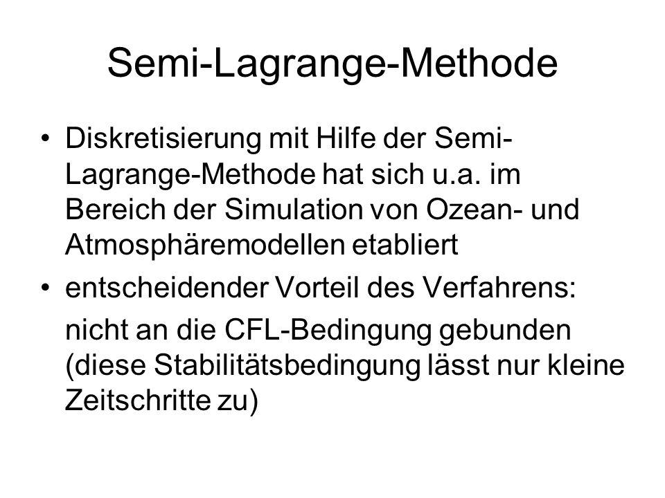 Semi-Lagrange-Methode Diskretisierung mit Hilfe der Semi- Lagrange-Methode hat sich u.a. im Bereich der Simulation von Ozean- und Atmosphäremodellen e