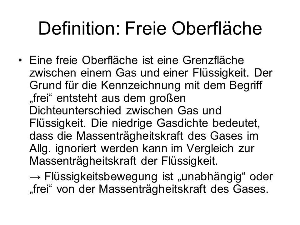 Definition: Freie Oberfläche Eine freie Oberfläche ist eine Grenzfläche zwischen einem Gas und einer Flüssigkeit. Der Grund für die Kennzeichnung mit
