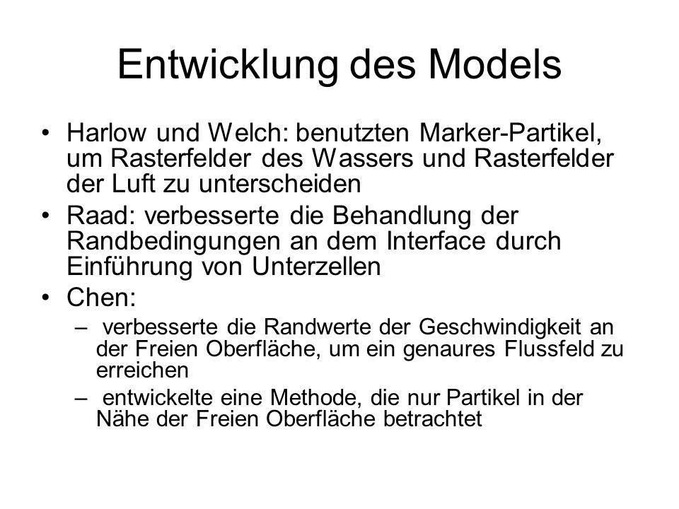 Entwicklung des Models Harlow und Welch: benutzten Marker-Partikel, um Rasterfelder des Wassers und Rasterfelder der Luft zu unterscheiden Raad: verbe