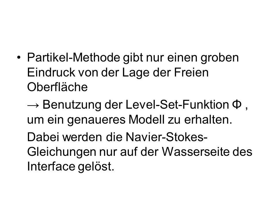 Partikel-Methode gibt nur einen groben Eindruck von der Lage der Freien Oberfläche Benutzung der Level-Set-Funktion Φ, um ein genaueres Modell zu erha