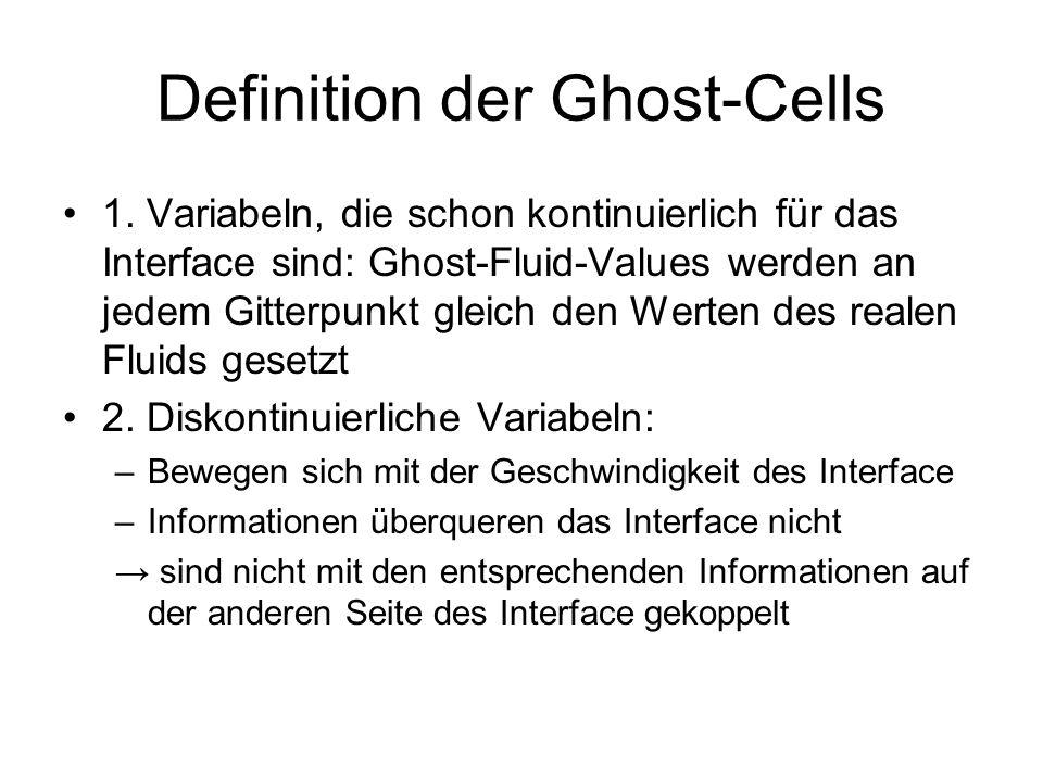 Definition der Ghost-Cells 1. Variabeln, die schon kontinuierlich für das Interface sind: Ghost-Fluid-Values werden an jedem Gitterpunkt gleich den We