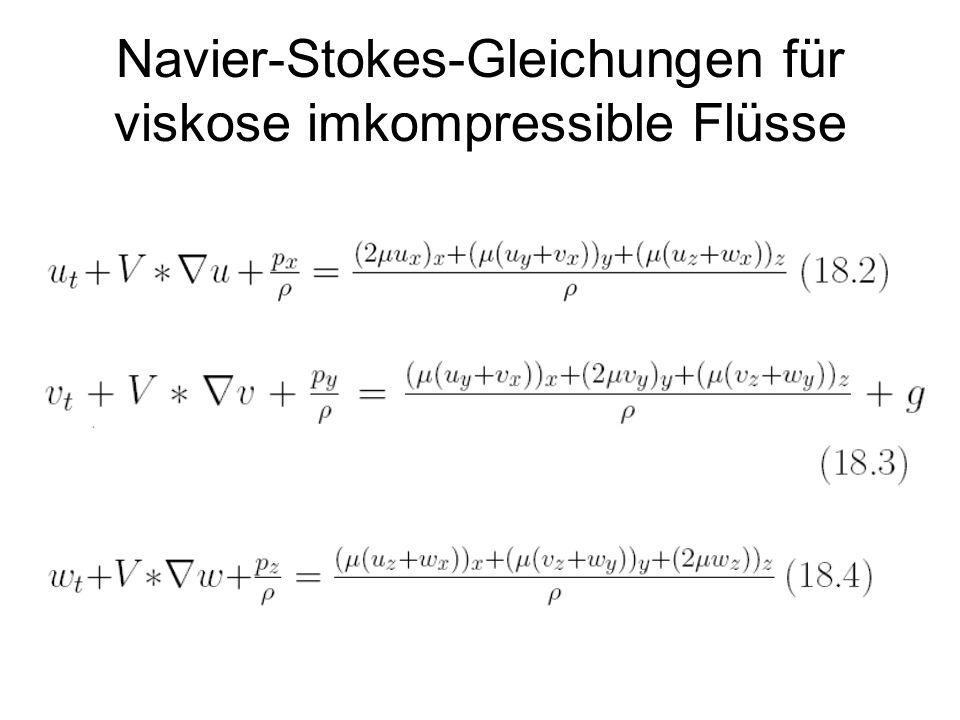 Navier-Stokes-Gleichungen für viskose imkompressible Flüsse