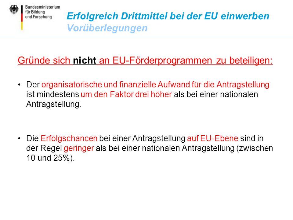 Erfolgreich Drittmittel bei der EU einwerben Vorüberlegungen Gründe sich nicht an EU-Förderprogrammen zu beteiligen: Der organisatorische und finanzielle Aufwand für die Antragstellung ist mindestens um den Faktor drei höher als bei einer nationalen Antragstellung.