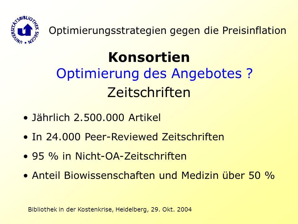Bibliothek in der Kostenkrise, Heidelberg, 29. Okt. 2004 Optimierungsstrategien gegen die Preisinflation Konsortien Optimierung des Angebotes ? Zeitsc