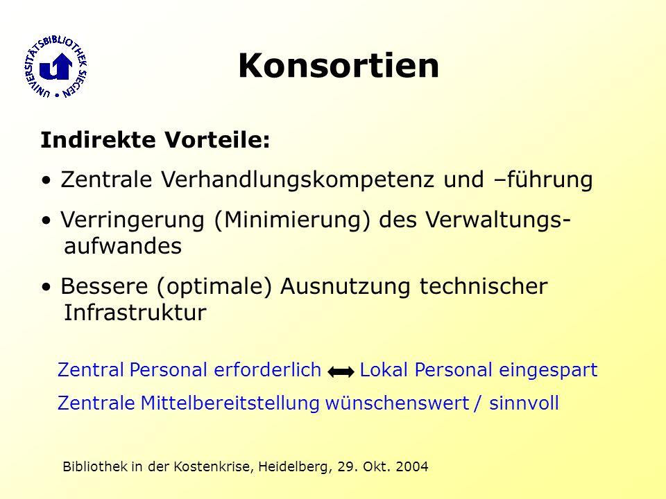 Bibliothek in der Kostenkrise, Heidelberg, 29. Okt. 2004 Konsortien Indirekte Vorteile: Zentrale Verhandlungskompetenz und –führung Verringerung (Mini