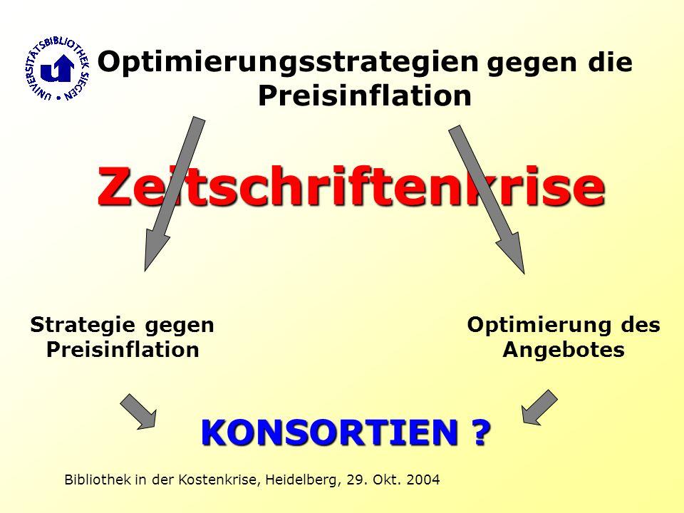 Bibliothek in der Kostenkrise, Heidelberg, 29. Okt. 2004 Zeitschriftenkrise KONSORTIEN ? Optimierungsstrategien gegen die Preisinflation Strategie geg