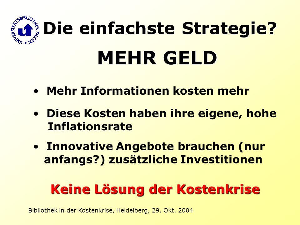 Bibliothek in der Kostenkrise, Heidelberg, 29. Okt. 2004 Mehr Informationen kosten mehr Diese Kosten haben ihre eigene, hohe Inflationsrate Innovative