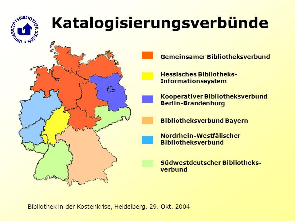 Bibliothek in der Kostenkrise, Heidelberg, 29. Okt. 2004 Katalogisierungsverbünde Gemeinsamer Bibliotheksverbund Hessisches Bibliotheks- Informationss