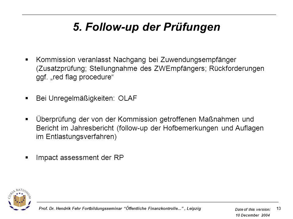13Prof. Dr. Hendrik Fehr Fortbildungsseminar Öffentliche Finanzkontrolle..., Leipzig Date of this version: 10 December 2004 5. Follow-up der Prüfungen