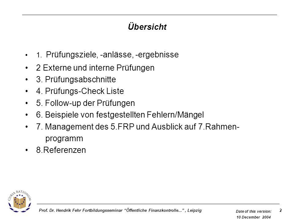 2Prof. Dr. Hendrik Fehr Fortbildungsseminar Öffentliche Finanzkontrolle..., Leipzig Date of this version: 10 December 2004 Übersicht 1. Prüfungsziele,