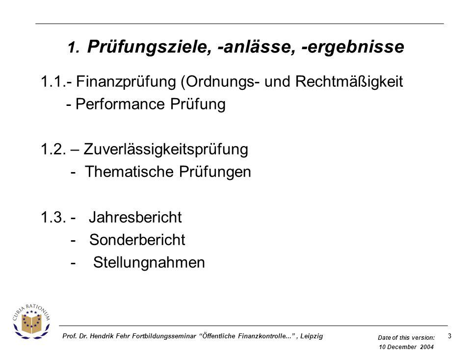 3Prof. Dr. Hendrik Fehr Fortbildungsseminar Öffentliche Finanzkontrolle..., Leipzig Date of this version: 10 December 2004 1. Prüfungsziele, -anlässe,