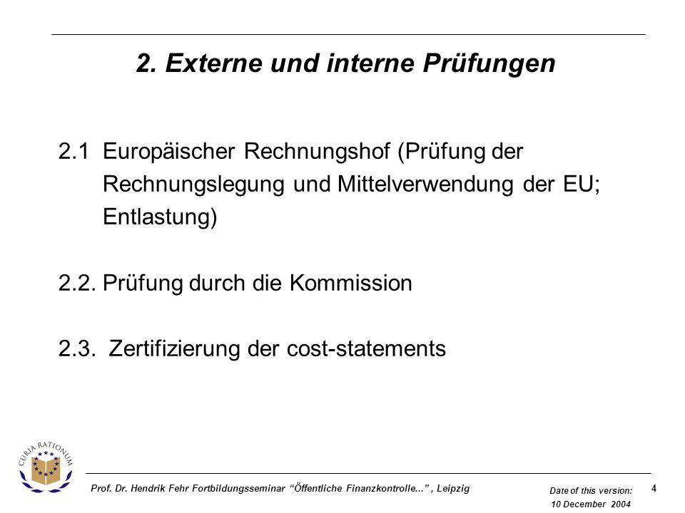 4Prof. Dr. Hendrik Fehr Fortbildungsseminar Öffentliche Finanzkontrolle..., Leipzig Date of this version: 10 December 2004 2. Externe und interne Prüf