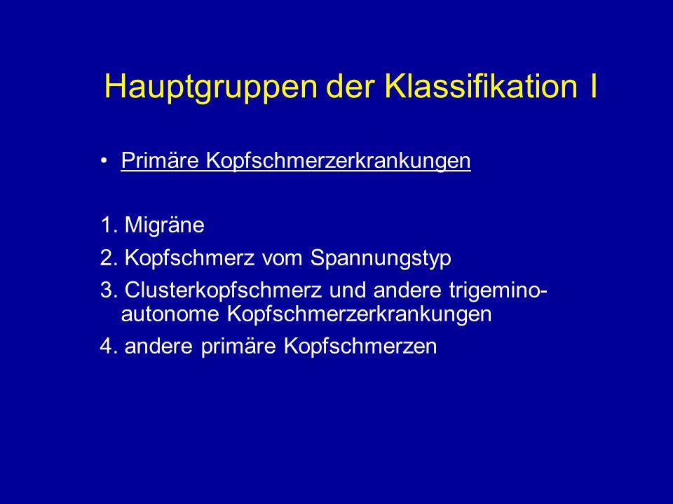 Hauptgruppen der Klassifikation I Primäre Kopfschmerzerkrankungen 1. Migräne 2. Kopfschmerz vom Spannungstyp 3. Clusterkopfschmerz und andere trigemin